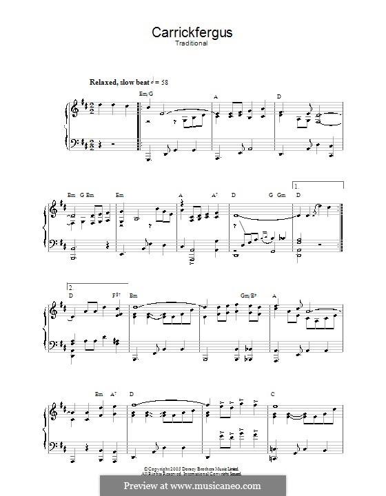 Carrickfergus: Para Piano by folklore
