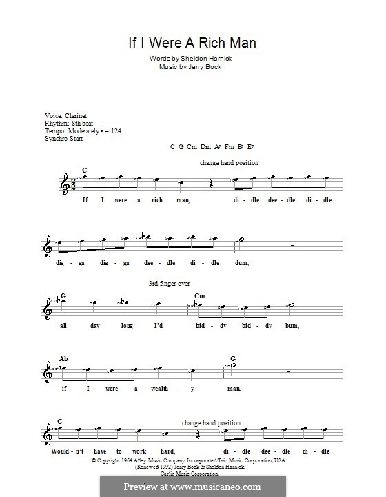 If I Were a Rich Man (from The Fiddler on the Roof): para teclado by Jerry Bock