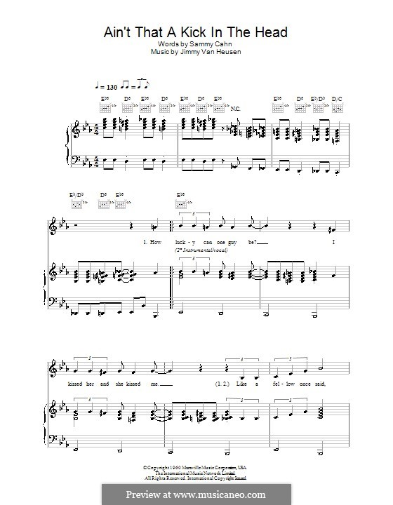 Ain't That a Kick in the Head: For voice and piano or guitar (Robbie Williams) by Jimmy Van Heusen