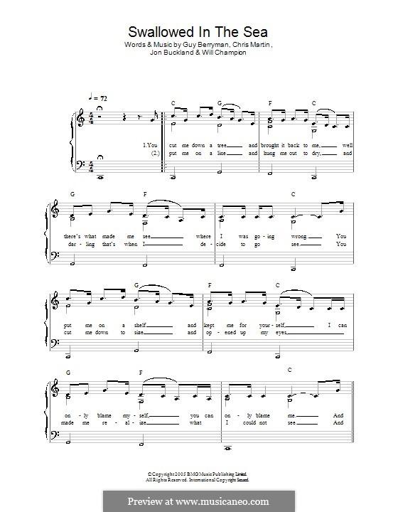 Swallowed in the Sea (Coldplay): Facil para o piano by Chris Martin, Guy Berryman, Jonny Buckland, Will Champion