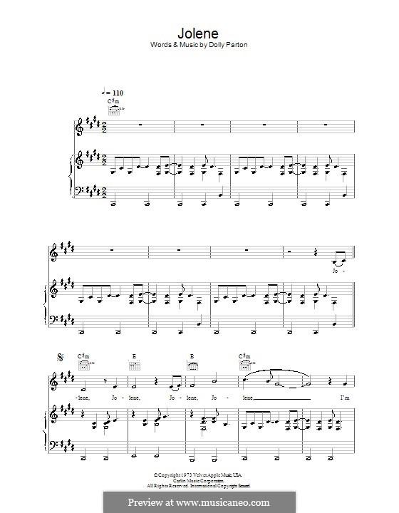 Jolene: Para vocais e piano (ou Guitarra) by Dolly Parton