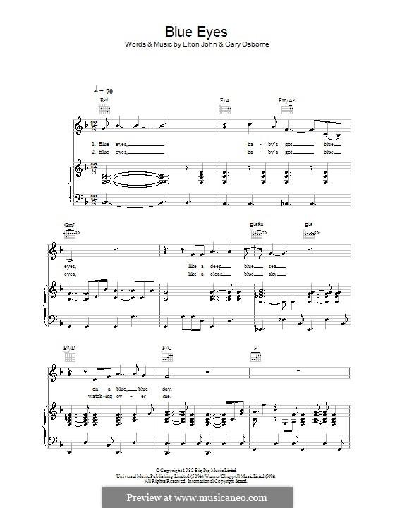 Blue Eyes: Para vocais e piano (ou Guitarra) by Elton John, Gary Osborne