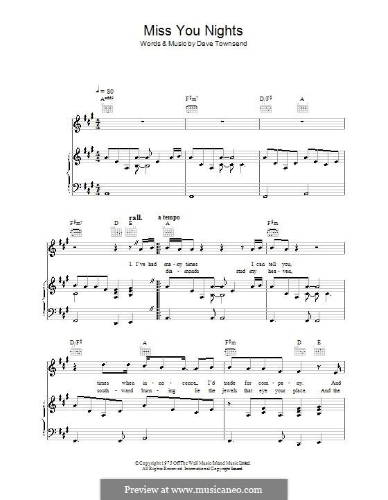 Miss You Nights (Westlife): Para vocais e piano (ou Guitarra) by Dave Townsend