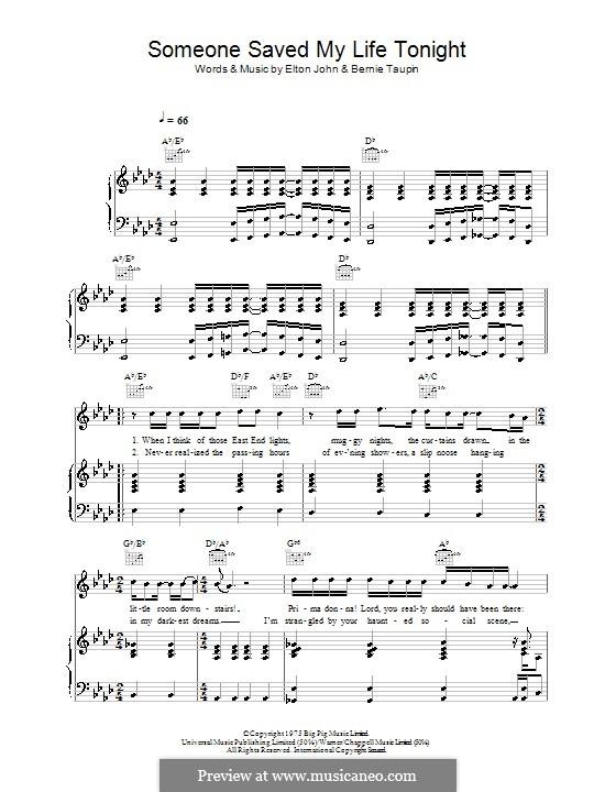 Someone Saved My Life Tonight: Para vocais e piano (ou Guitarra) by Elton John