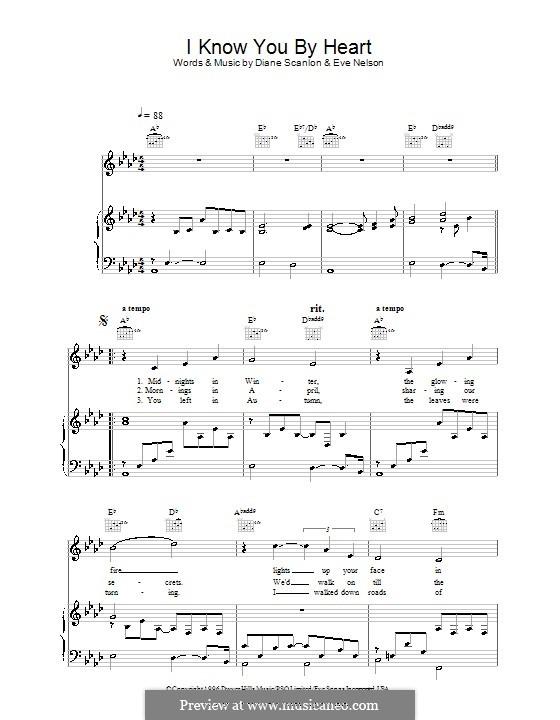I Know You By Heart (Eva Cassidy): Para vocais e piano (ou Guitarra) by Diane Scanlon, Eve Nelson