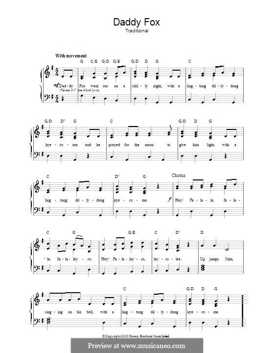 Daddy Fox: Para vocais e piano by folklore