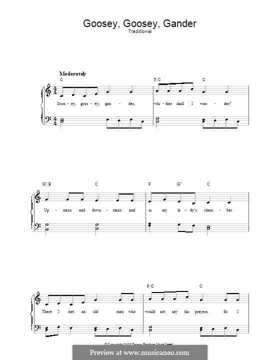Goosey Goosey Gander: Para vocais e piano by folklore