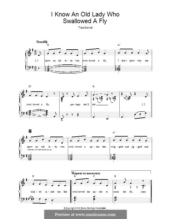 I Know an Old Lady Who Swallowed a Fly: Para vocais e piano by folklore