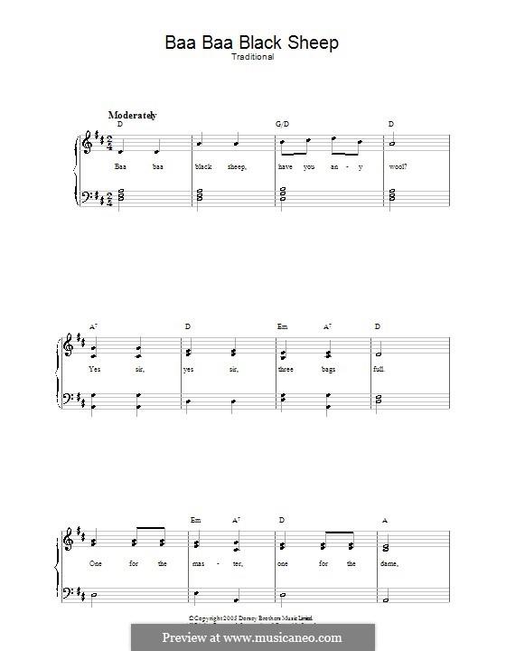 Baa Baa Black Sheep: Para vocais e piano by folklore