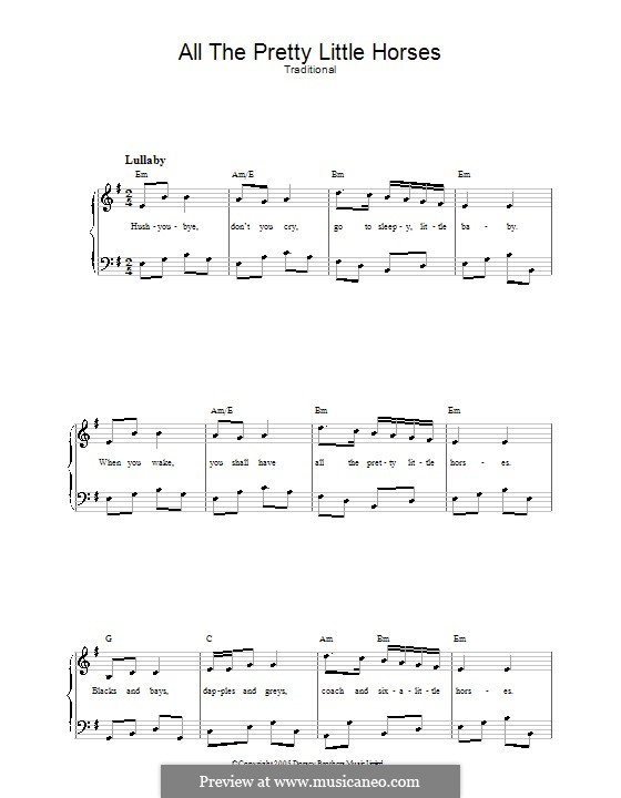All the Pretty Little Horses: Partitura Piano-vocal by folklore