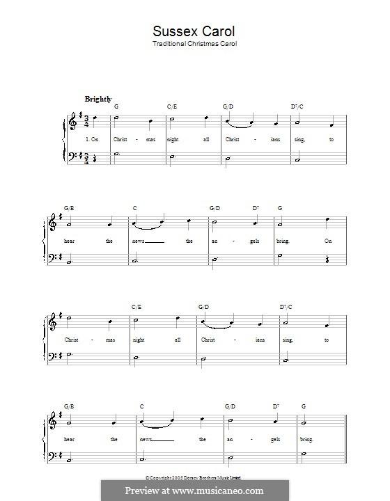 Sussex Carol: Facil para o piano by folklore