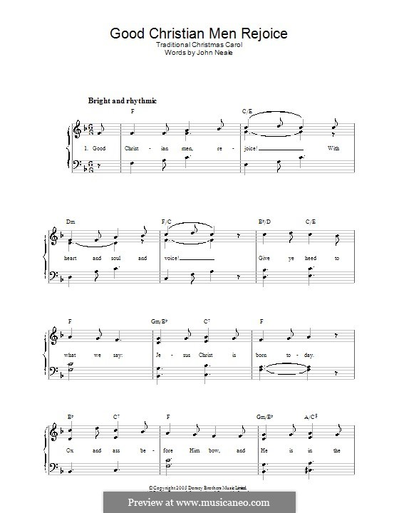 Good Christian Men, Rejoice: Facil para o piano by folklore