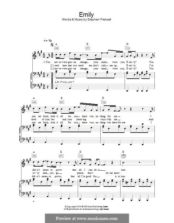 Emily: Para vocais e piano (ou Guitarra) by Stephen Fretwell