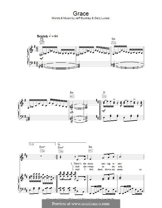 Grace: Para vocais e piano (ou Guitarra) by Gary Lucas, Jeff Buckley