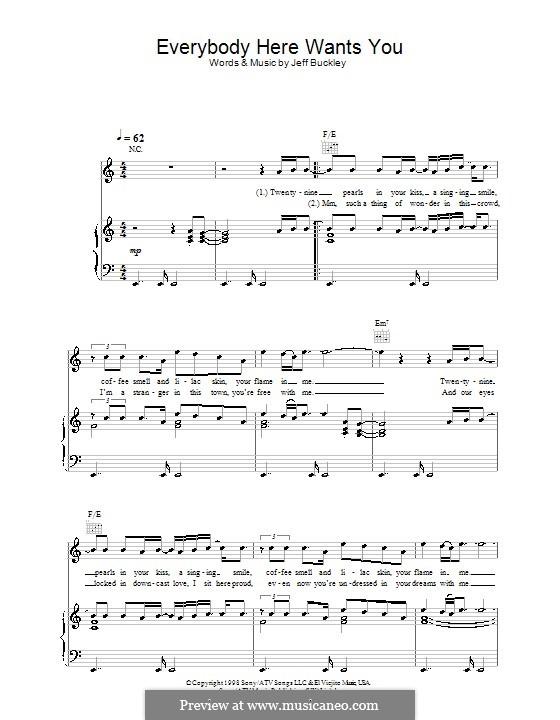Everybody Here Wants You: Para vocais e piano (ou Guitarra) by Jeff Buckley