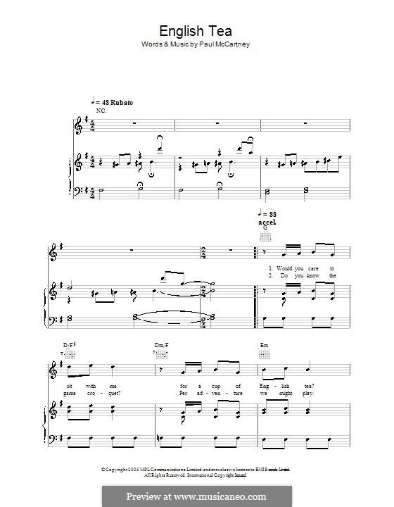 English Tea: Para vocais e piano (ou Guitarra) by Paul McCartney