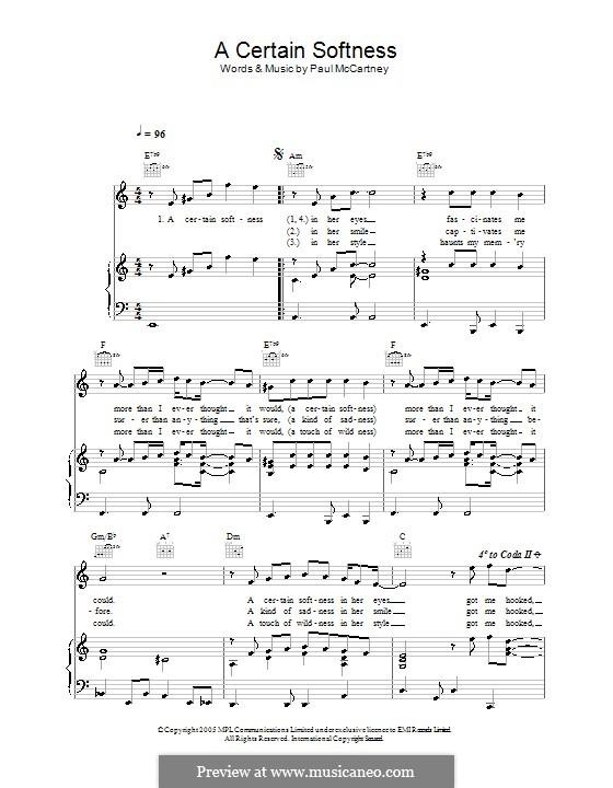 A Certain Softness: Para vocais e piano (ou Guitarra) by Paul McCartney