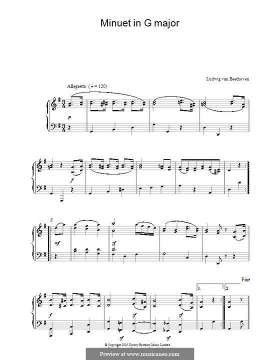 Minuet in G Major: Para Piano by Ludwig van Beethoven