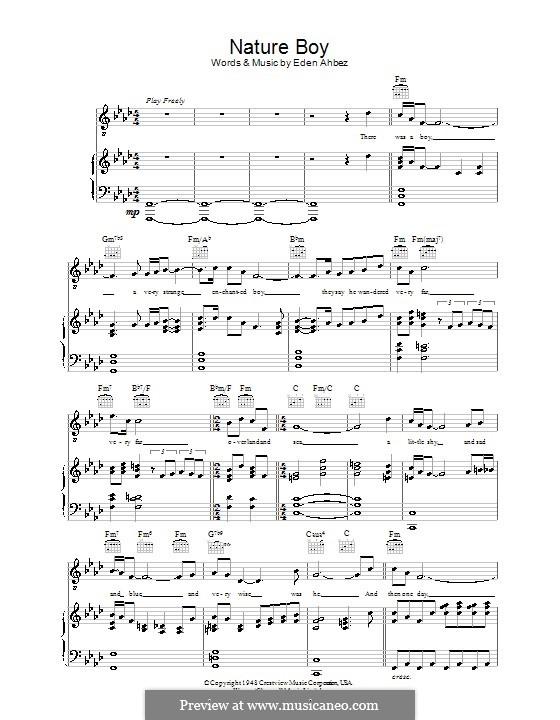 Nature Boy (Nat King Cole): Para vocais e piano (ou Guitarra) by Eden Ahbez