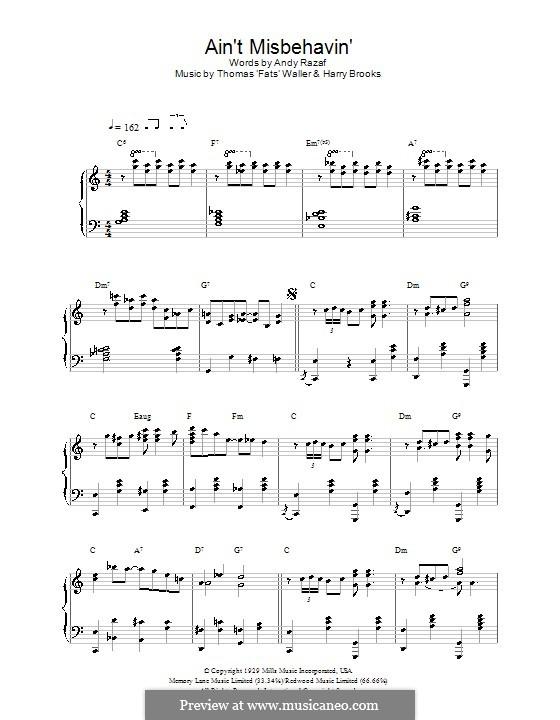 Ain't Misbehavin': Para Piano by Fats Waller, Harry Brooks