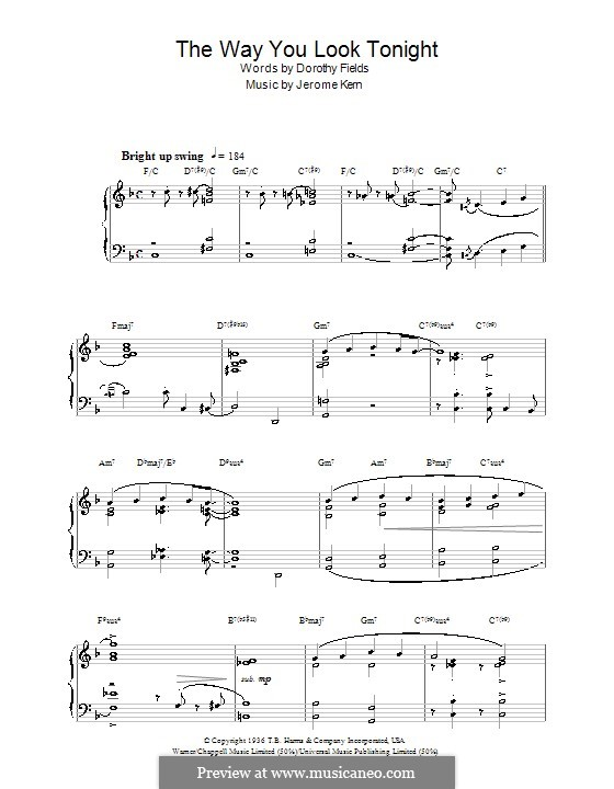 The Way You Look Tonight, for Piano: Com coros by Jerome Kern