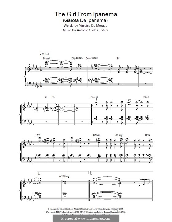 The Girl from Ipanema (Garota de Ipanema), for Piano: Com coros by Antonio Carlos Jobim