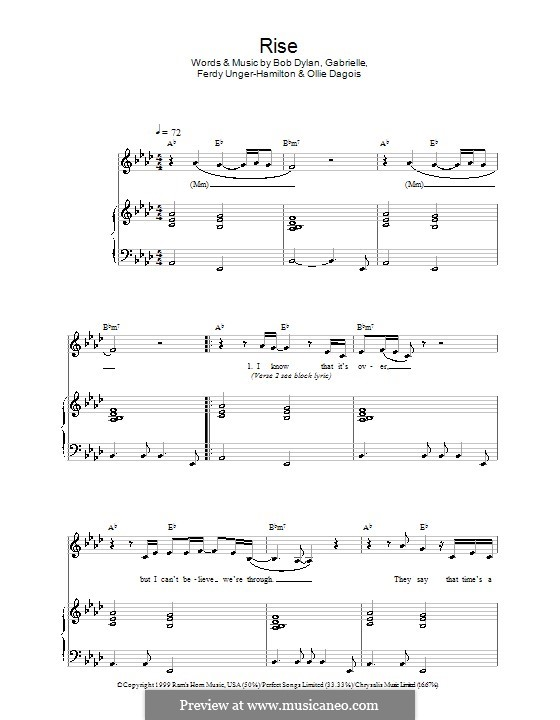 Rise: Para vocais e piano by Gabrielle, Bob Dylan, Ferdy Unger-Hamilton, Ollie Dagois