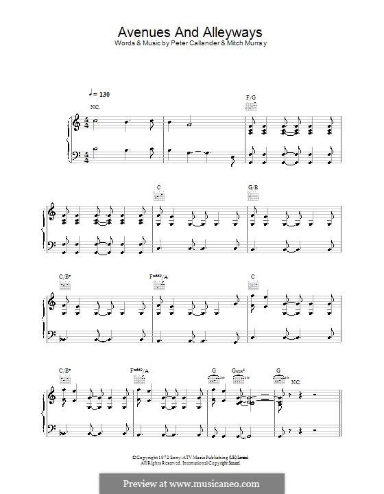 Avenues & Alleyways: Para vocais e piano (ou Guitarra) by Mitch Murray, Peter Callander