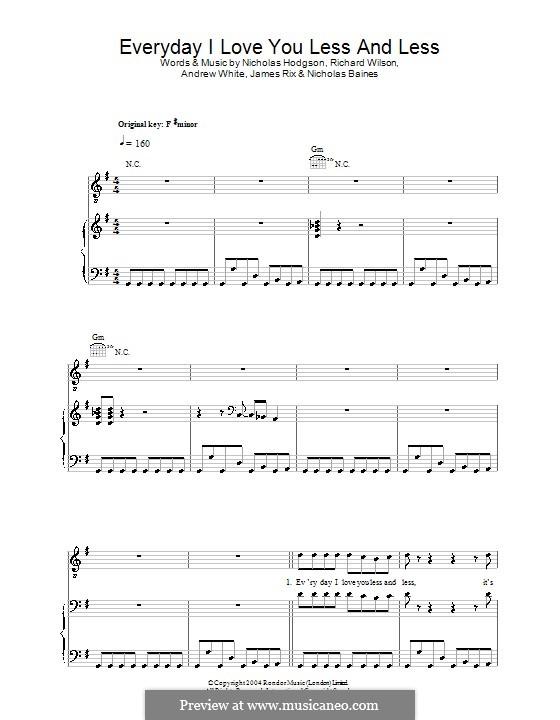 Everyday I Love You Less and Less (Kaiser Chiefs): Para vocais e piano (ou Guitarra) by Andrew White, James Rix, Nicholas Baines, Nicholas Hodgson, Charles Wilson