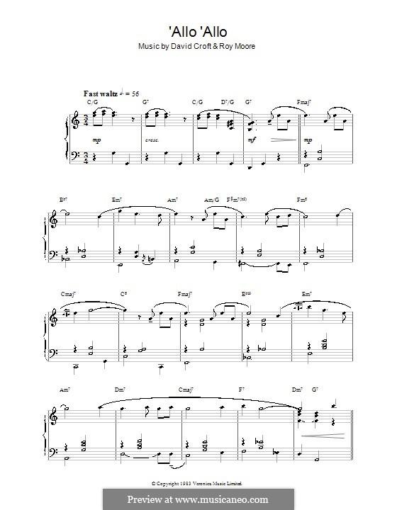 'Allo 'Allo: Para Piano by Roy Moore