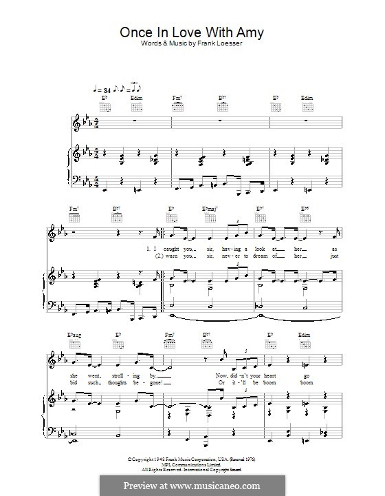 Once in Love with Amy (from Where's Charley?): para vocais,piano ou guitarra by Frank Loesser