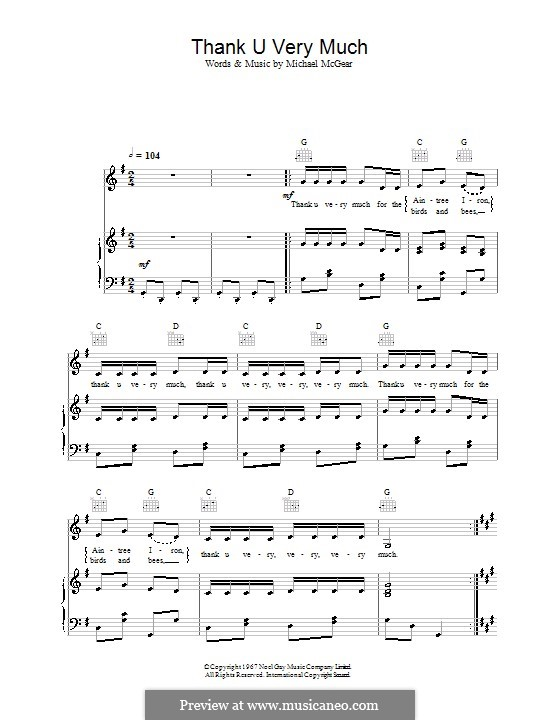 Thank U Very Much (The Scaffold): Para vocais e piano (ou Guitarra) by Mike McGear