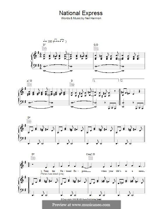 National Express (The Divine Comedy): Para vocais e piano (ou Guitarra) by Neil Hannon