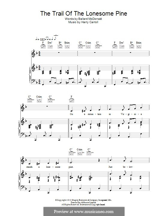 The Trail of the Lonesome Pine (Laurel and Hardy): Para vocais e piano (ou Guitarra) by Harry Carroll