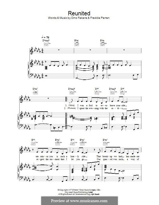 Reunited (Peaches and Herb): Para vocais e piano (ou Guitarra) by Dino Fekaris, Freddie Perren