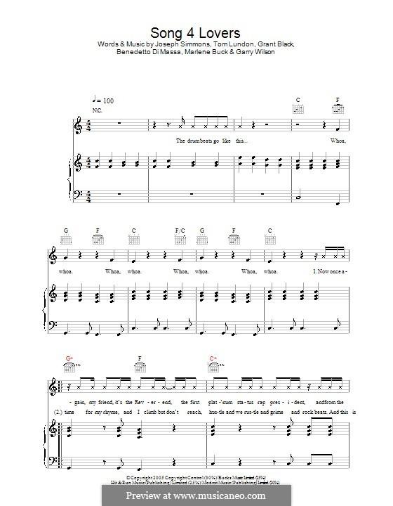 Song 4 Lovers (Liberty X): Para vocais e piano (ou Guitarra) by Benedetto Di Massa, Garry Wilson, Grant Black, Joseph Simmons, Marlene Buck, Tom Lundon