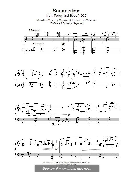 Summertime, for Piano: para um único musico (Editado por H. Bulow) by George Gershwin