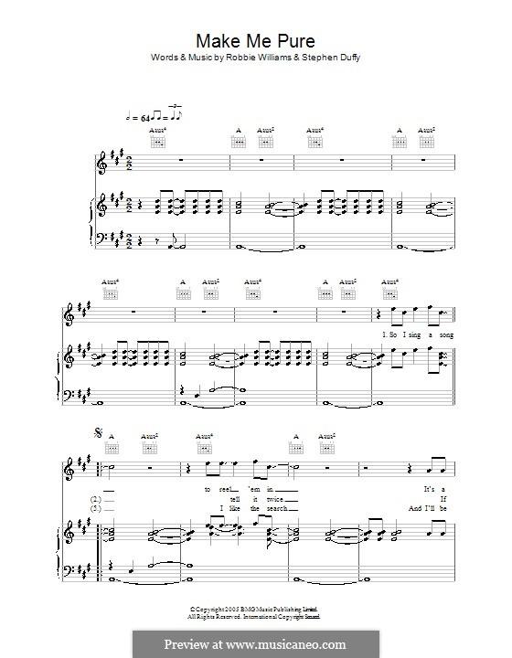 Make Me Pure: Para vocais e piano (ou Guitarra) by Stephen Duffy