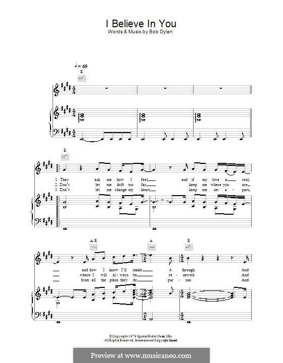 I Believe in You: Para vocais e piano (ou Guitarra) by Bob Dylan