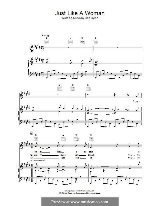 Just Like a Woman: Para vocais e piano (ou Guitarra) by Bob Dylan