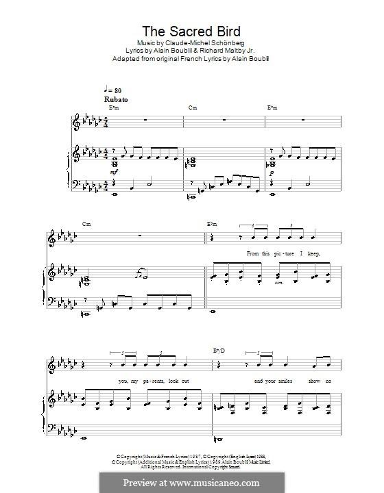 The Sacred Bird: Para vocais e piano (ou Guitarra) by Claude-Michel Schönberg