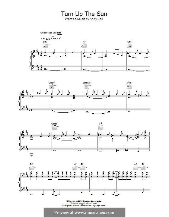 Turn Up the Sun (Oasis): Para vocais e piano (ou Guitarra) by Andy Bell
