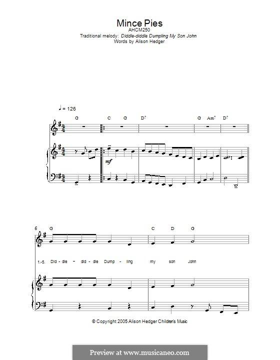 Mince Pies: Para vocais e piano (ou Guitarra) by folklore