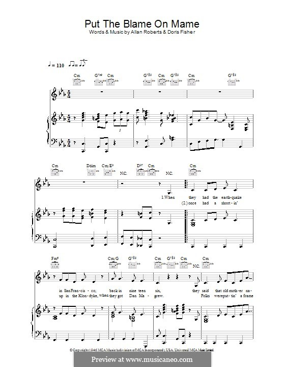Put the Blame on Mame (Rita Hayworth): Para vocais e piano (ou Guitarra) by Allan Roberts, Doris Fisher
