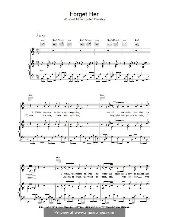 Forget Her: Para vocais e piano (ou Guitarra) by Jeff Buckley