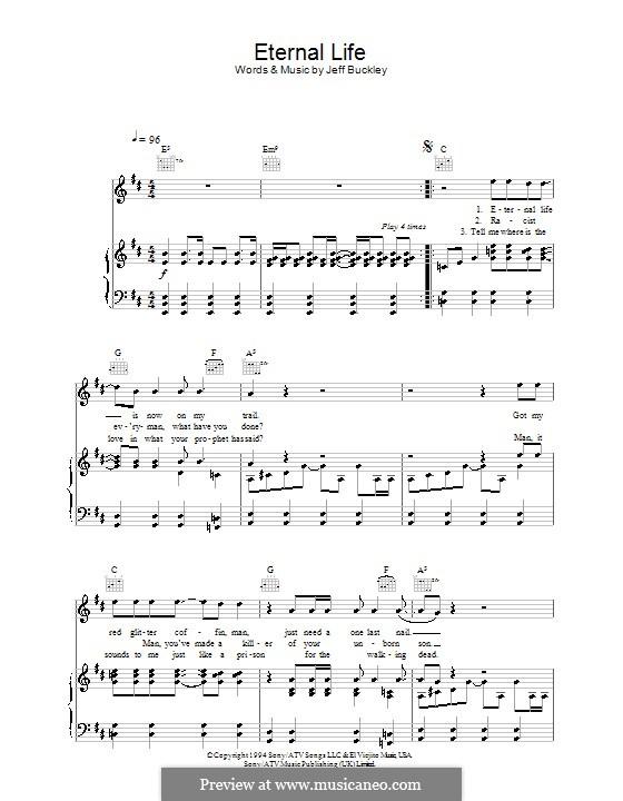 Eternal Life: Para vocais e piano (ou Guitarra) by Jeff Buckley