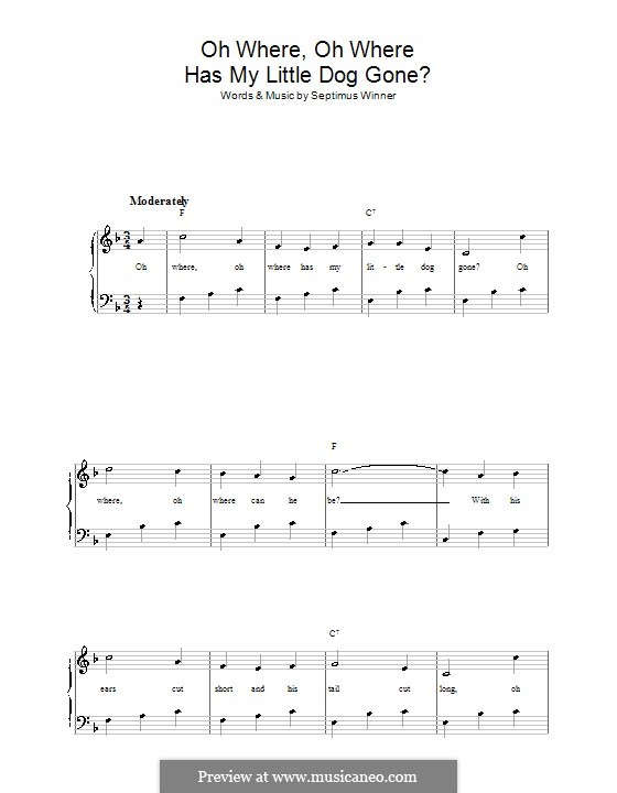 Oh Where, Oh Where Has My Little Dog Gone?: Para vocais e piano by Septimus Winner