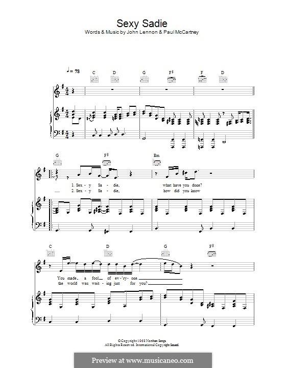 Sexy Sadie (The Beatles): Para vocais e piano (ou Guitarra) by John Lennon, Paul McCartney