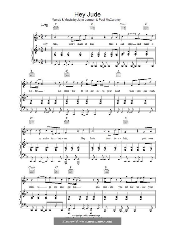 Hey Jude (The Beatles): Para vocais e piano (ou Guitarra) by John Lennon, Paul McCartney