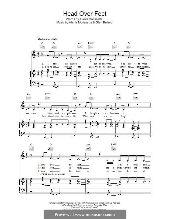 Head Over Feet: Para vocais e piano (ou Guitarra) by Alanis Morissette, Glen Ballard